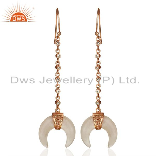 Rose Quartz Crescent Moon 925 Sterling Silver Rose Gold Plated Dangle Earring