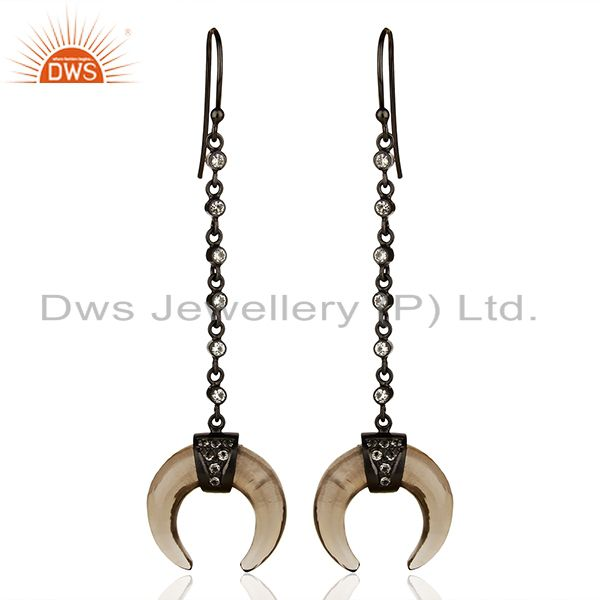 Smoky Topaz Crescent Moon Sterling Silver Black Rhodium Plated Dangle Earring