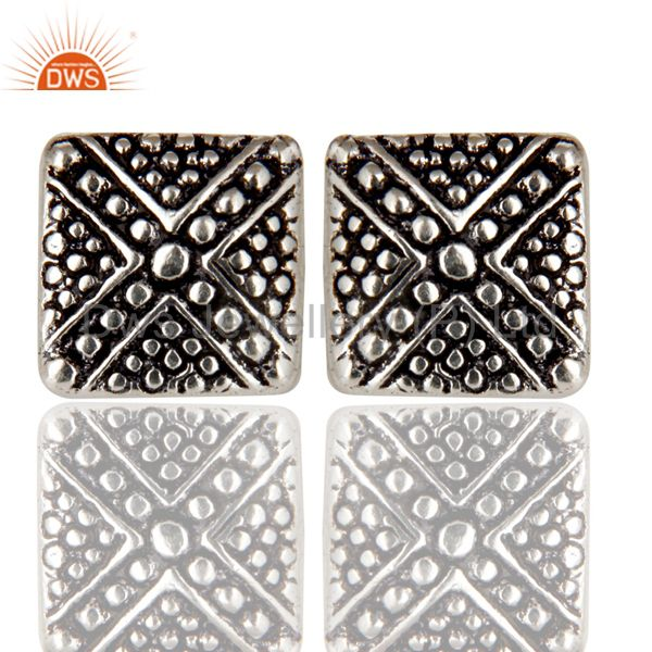 Black Oxidized Traditional Handmade Textured Design Stud Brass Earrings