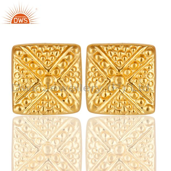 14K Yellow Gold Plated Traditional Handmade Textured Design Stud Brass Earrings