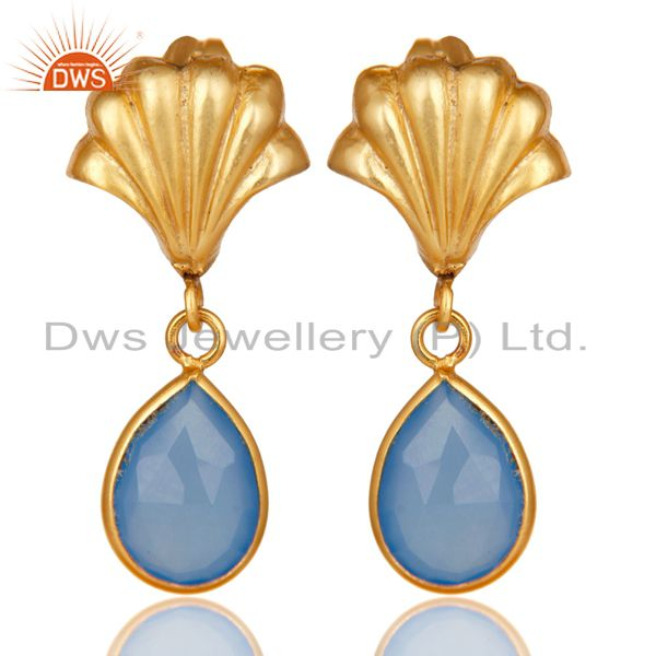 14K Yellow Gold Plated Handmade Dyed Chalcedony Bezel Set Drops Brass Earrings