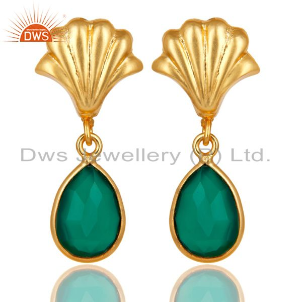 14K Yellow Gold Plated Traditional Handmade Green Onyx Bezel Set Brass Earrings