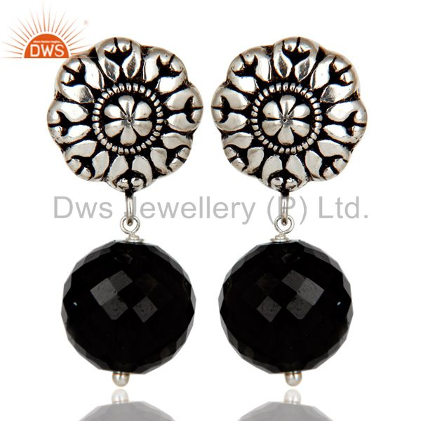 Traditional Handmade Oxidized With Silver Plated Black Onyx Drops Brass Earrings