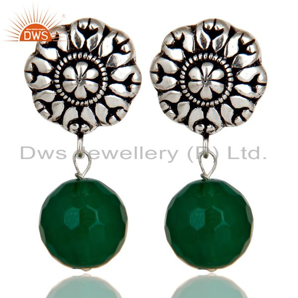 Traditional Handmade Oxidized With Silver Plated Green Onyx Drops Brass Earrings