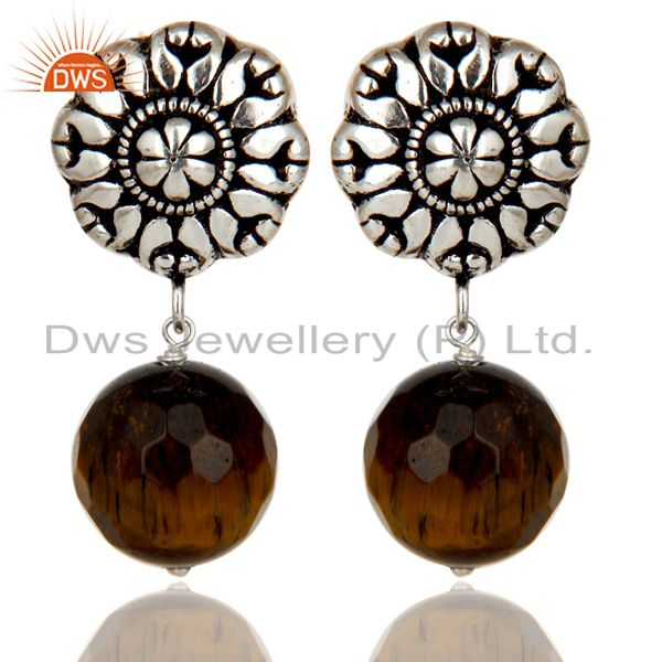 Traditional Handmade Oxidized With Silver Plated Tiger Eye Drops Brass Earrings