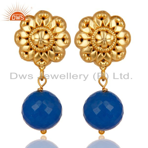 14K Yellow Gold Plated Traditional Handmade Dyed Chalcedony Brass Earrings