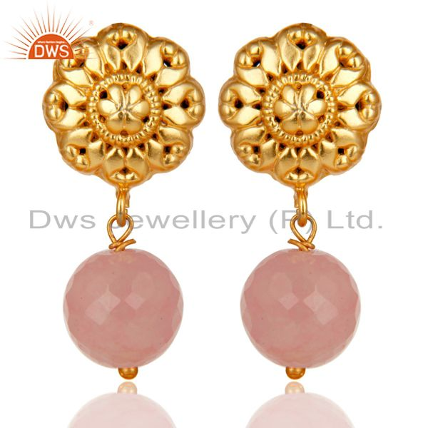 14K Yellow Gold Plated Traditional Handmade Dyed Chalcedony Drop Brass Earrings