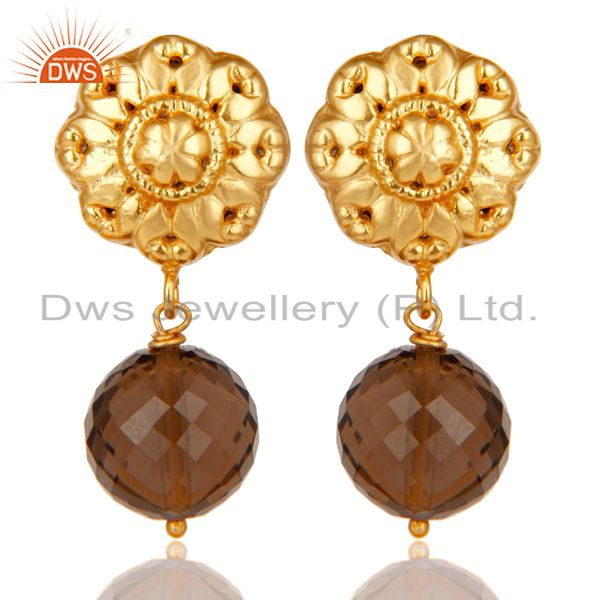 14K Yellow Gold Plated Traditional Handmade Faceted Smokey Topaz Brass Earrings