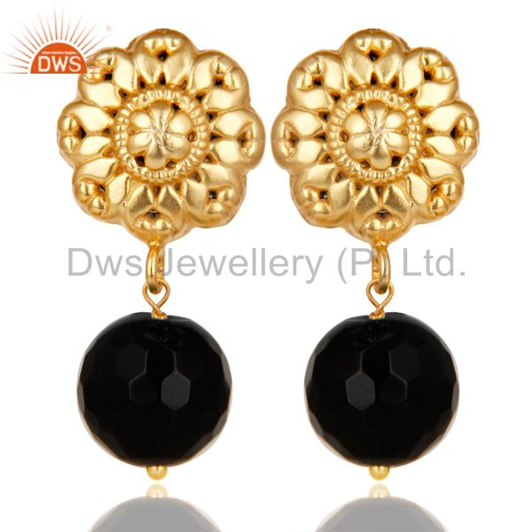 14K Yellow Gold Plated Traditional Handmade Faceted Black Onyx Brass Earrings