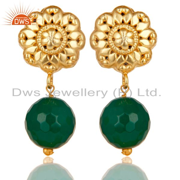 14K Yellow Gold Plated Traditional Handmade Green Onyx Drops Brass Earrings