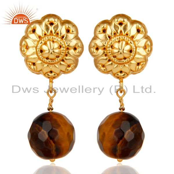 14K Yellow Gold Plated Traditional Handmade Tiger Eye Drops Brass Earrings