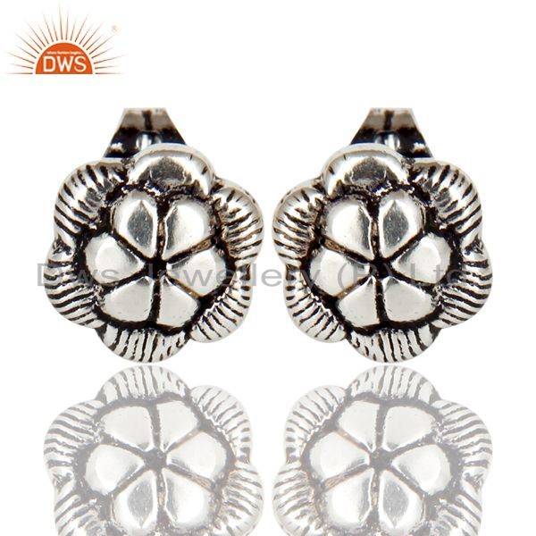 Black Oxidized Traditional Handmade Flower Style Studs Brass Earrings Jewelry