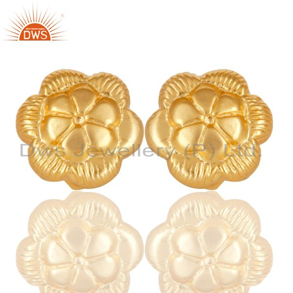 Floral Designer Gold Plated Brass Designer Fashion Stud Earrings Jewelry