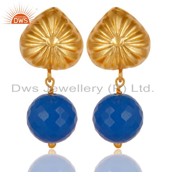 Handmade Art Dyed Blue Chalcedony Drop Brass Earrings In 14K Yellow Gold Plated