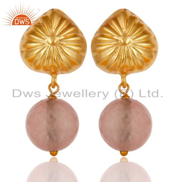 Handmade Art Dyed Rose Chalcedony Drop Brass Earrings In 14K Yellow Gold Plated