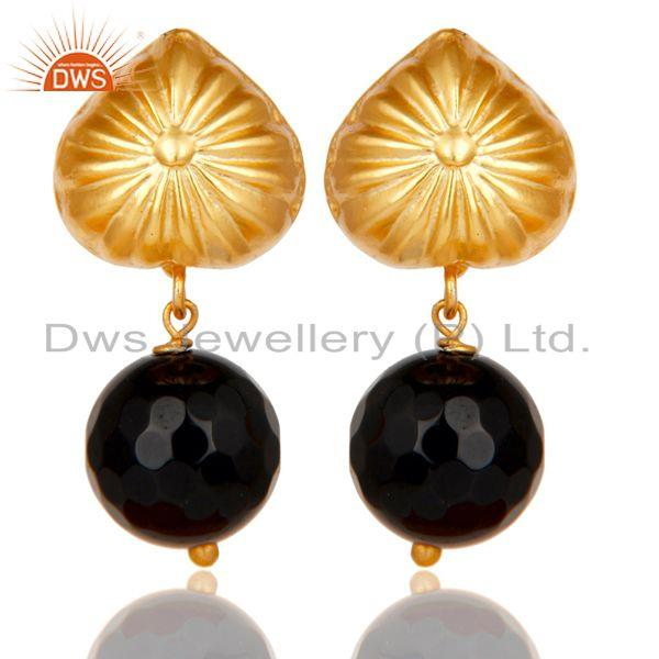 Handmade Art Faceted Black Onyx Drops Brass Earrings In 14K Yellow Gold Plated