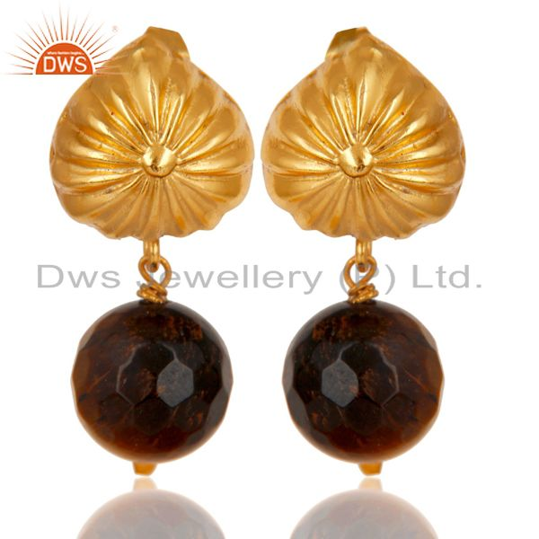 Handmade Art Faceted Tiger Eye Drops Brass Earrings In 14K Yellow Gold Plated