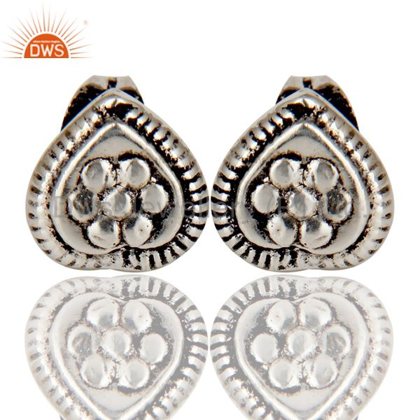 Traditional Handmade Design Studs Brass Earrings Made In Oxidized Silver Plated
