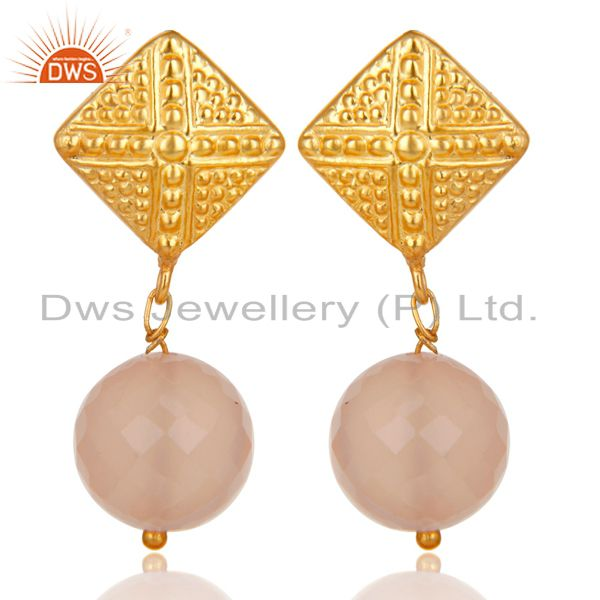 14K Yellow Gold Plated Handmade Ball Style Dyed Chalcedony Drops Brass Earrings