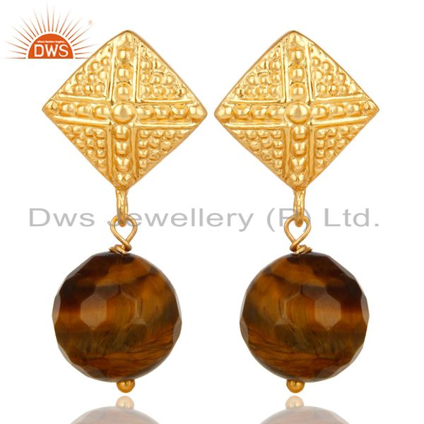 14K Yellow Gold Plated Handmade Ball Style Yellow Tiger Eye Drop Brass Earrings