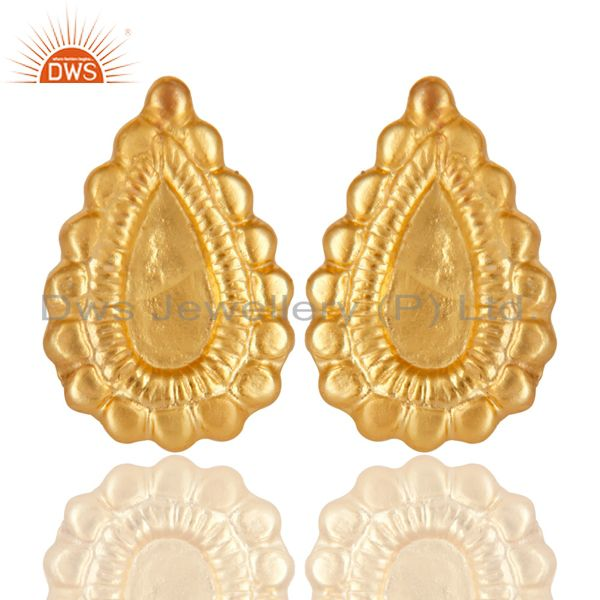 14K Yellow Gold Plated Handmade Fashion Studs Brass Earrings Jewelry