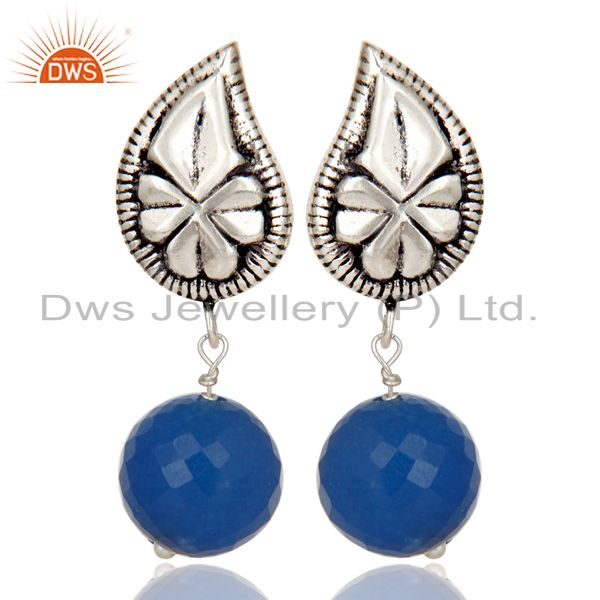 Flower Carving Blue Chalcedony Brass Earrings Made In Oxidized Silver Plated