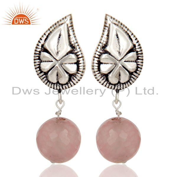 Flower Carving Dyed Chalcedony Brass Earrings Made In Oxidized Silver Plated