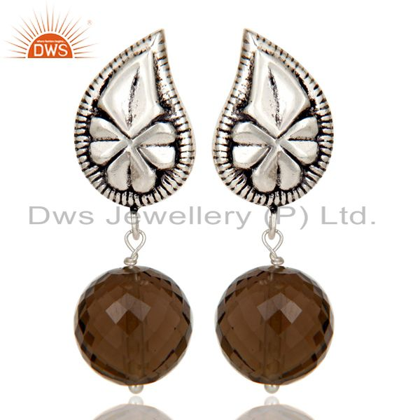 Flower Carving Smokey Topaz Brass Earrings Made In Oxidized Silver Plated
