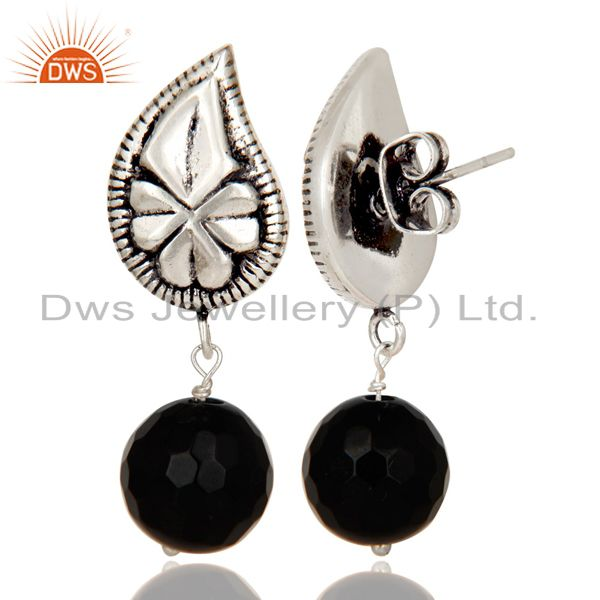 Flower Carving Black Onyx Drops Brass Earrings Made In Oxidized Silver Plated