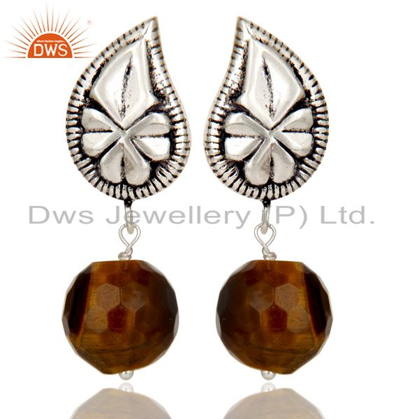 Flower Carving Tiger Eye Drops Brass Earrings Made In Oxidized Silver Plated