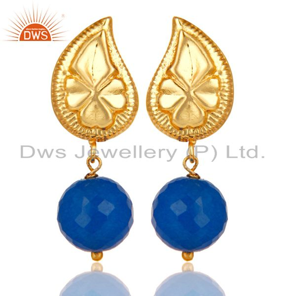 Flower Carving Blue Chalcedony Drops Brass Earrings Made In 14K Gold Plated