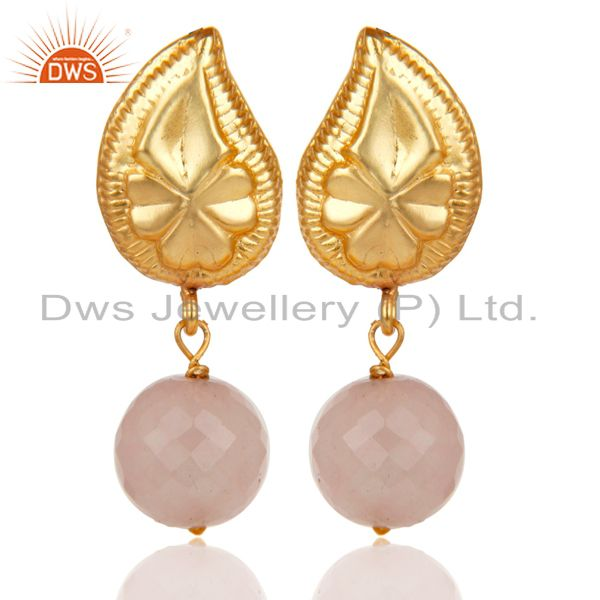 Flower Carving Dyed Chalcedony Drops Brass Earrings Made In 14K Gold Plated