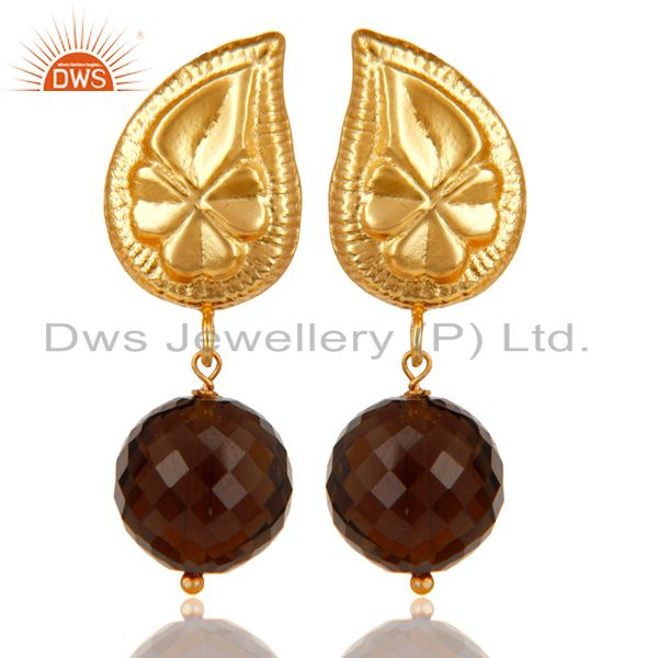 Handmade Flower Carving Smokey Topaz Drop Brass Earring Made In 14K Gold Plated