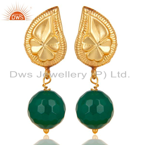 Handmade Flower Carving Green Onyx Drops Brass Earrings Made In 14K Gold Plated