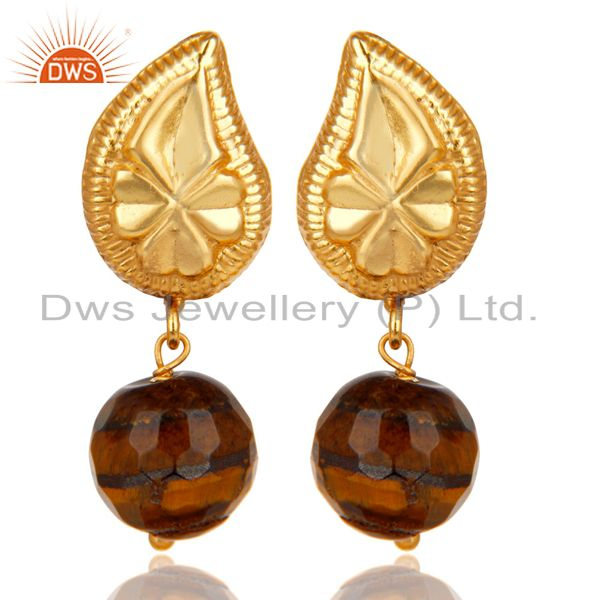 Handmade Flower Carving Tiger Eye Drops Brass Earrings Made In 14K Gold Plated