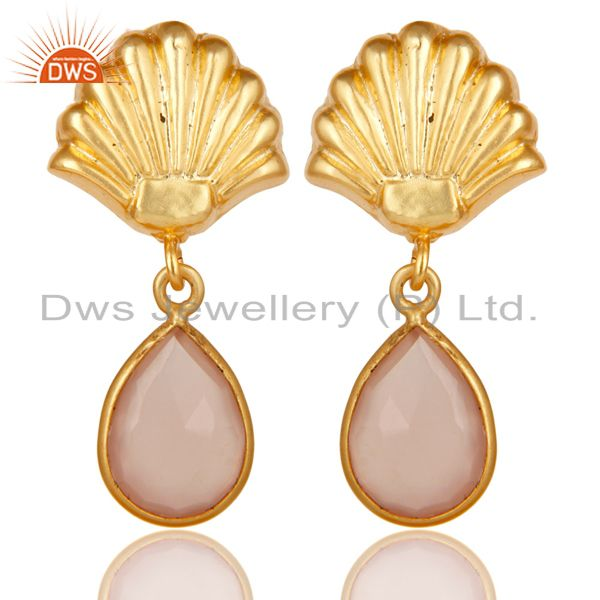 14K Yellow Gold Plated Handmade Dyed Rose Chalcedony Bezel Set Brass Earrings