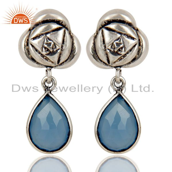 Handmade Dyed Chalcedony Bezel Set Brass Earring Made In Oxidized Silver Plated