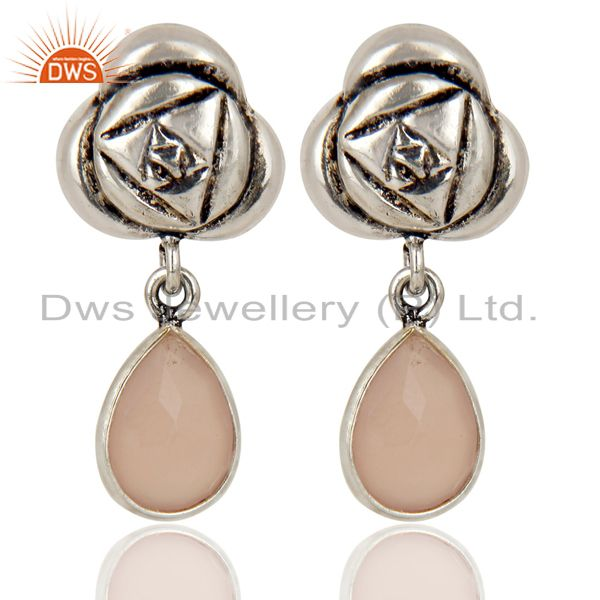 Handmade Rose Chalcedony Bezel Set Brass Earring Made In Oxidized Silver Plated