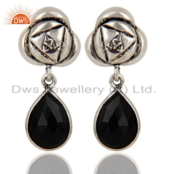 Handmade Black Onyx Bezel Set Brass Earrings Made In Oxidized Silver Plated