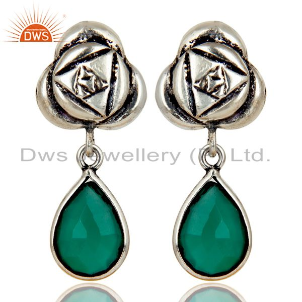 Handmade Green Onyx Bezel Set Brass Earrings Made In Oxidized Silver Plated