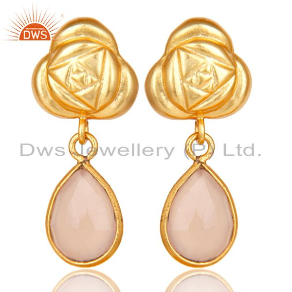 Handmade Rose Chalcedony Bezel Set Drops Brass Earrings Made In 14K Gold Plated