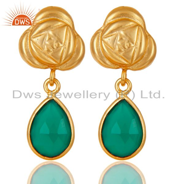 Handmade Green Onyx Bezel Set Drops Brass Earrings Made In 14K Gold Plated