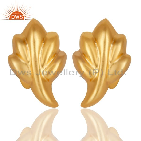 Traditional Handmade 14K Yellow Gold Plated Leaf Style Studs Earrings Jewelry