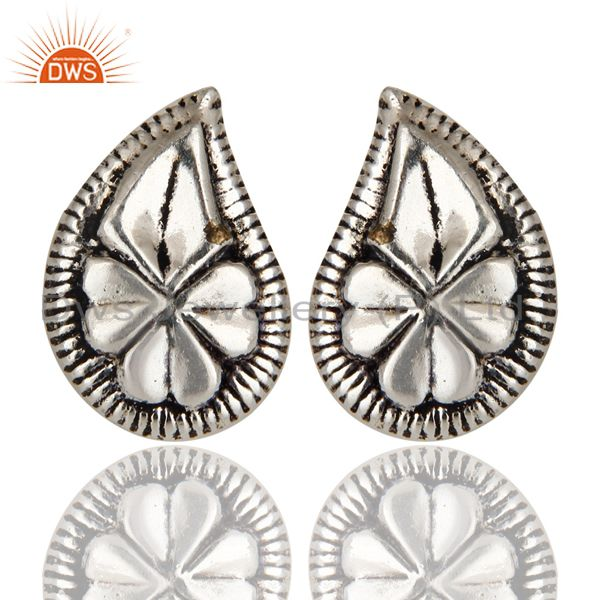 Black Oxidized With Silver Plated Handmade Flower Design Studs Brass Earrings