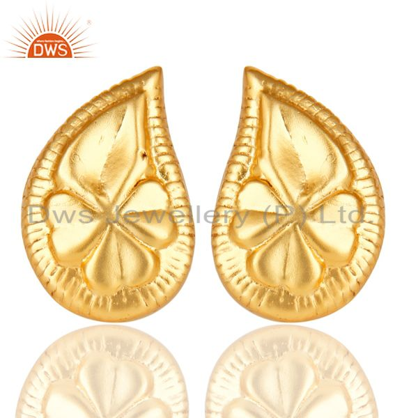 14K Yellow Gold Plated Traditional Handmade Flower Design Studs Brass Earrings