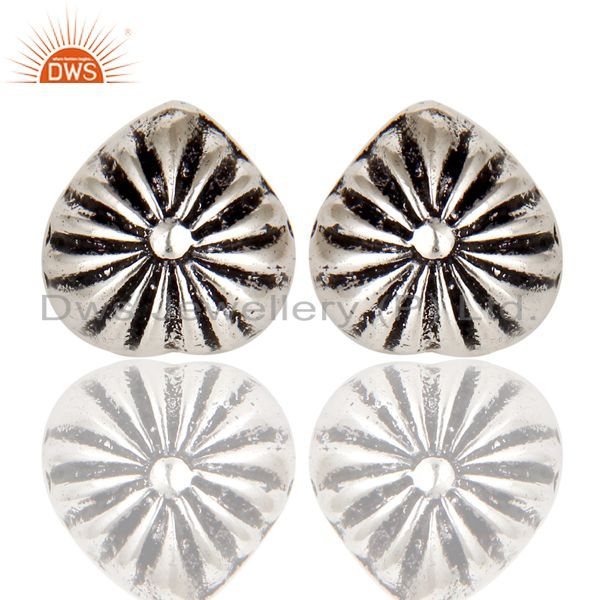 Oxidized Silver Plated Traditional Handmade Beautiful Design Stud Brass Earring