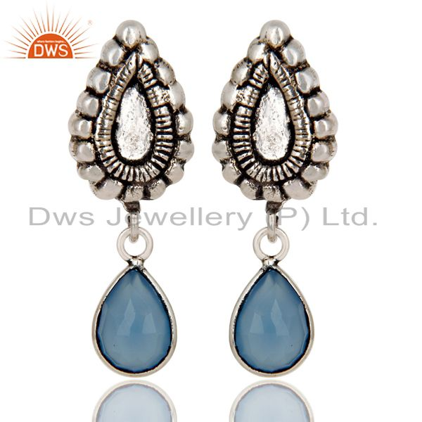Oxidized Silver Plated Beautiful Carving Blue Chalcedony Bezel Brass Earrings
