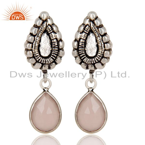Oxidized Silver Plated Beautiful Carving Rose Chalcedony Bezel Brass Earrings