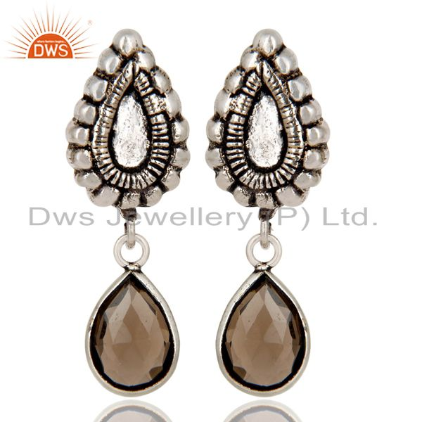 Oxidized Silver Plated Beautiful Carving Smokey Topaz Bezel Set Brass Earrings