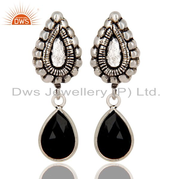 Oxidized Silver Plated Beautiful Carving Black Onyx Bezel Set Brass Earrings